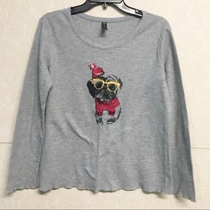 Ambrielle Pug Dog Gray Thermal Longsleeve Tee L